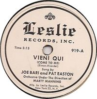 Cover Joe Bari and Pat Easton - Vieni qui (Come To Me)