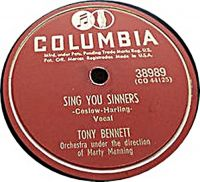 Cover Tony Bennett with Marty Manning And His Orchestra - Sing You Sinners