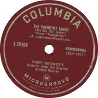 Cover Tony Bennett with Marty Manning And His Orchestra - The Valentino Tango