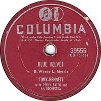 Cover Tony Bennett with Percy Faith & His Orchestra - Blue Velvet