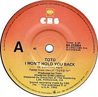 Cover Toto - I Won't Hold You Back