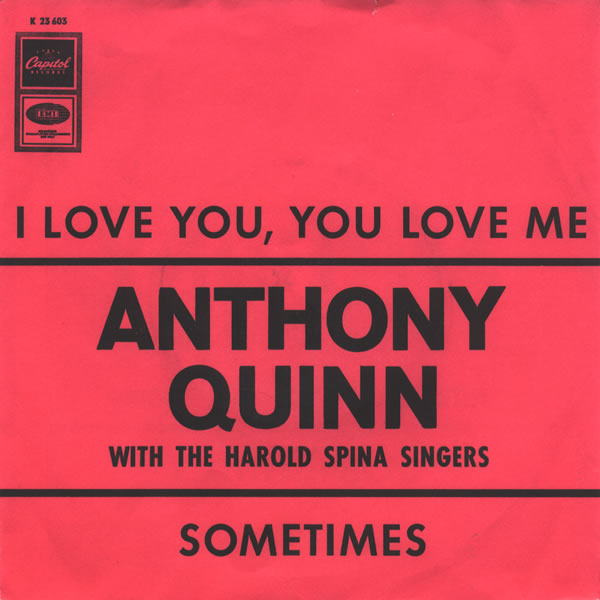 Ultratopbe Anthony Quinn With The Harold Spina Singers I Love