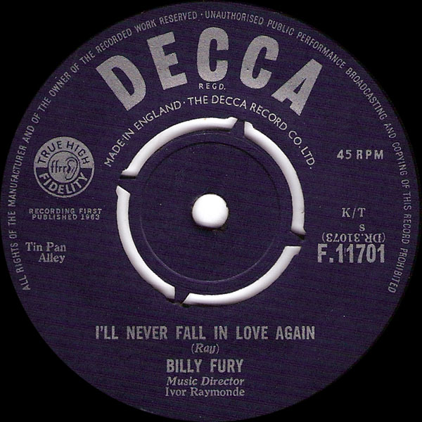 Ultratopbe Billy Fury Ill Never Fall In Love Again
